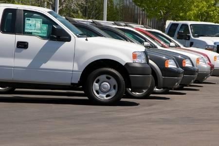 cars sitting in dealership