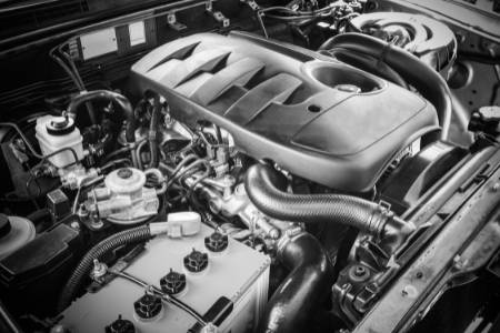 diesel engine and spark plugs